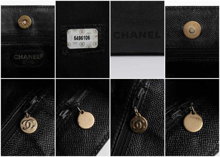 CHANEL c.1990's Black Caviar Leather Structured Shoulder Bag Tote Handbag Purse  6