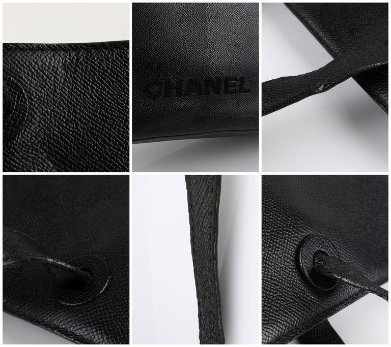 CHANEL c.1990's Black Caviar Leather Structured Shoulder Bag Tote Handbag Purse  10