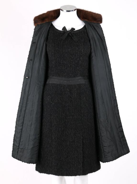 Chanel C 1960 S Haute Couture Black Boucle Wool Mink Coat