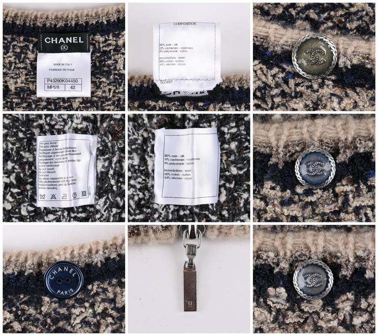 Women's CHANEL A/W 2011 A-Symmetrical Front Side Zip Knitwear Cardigan Jacket 42 For Sale