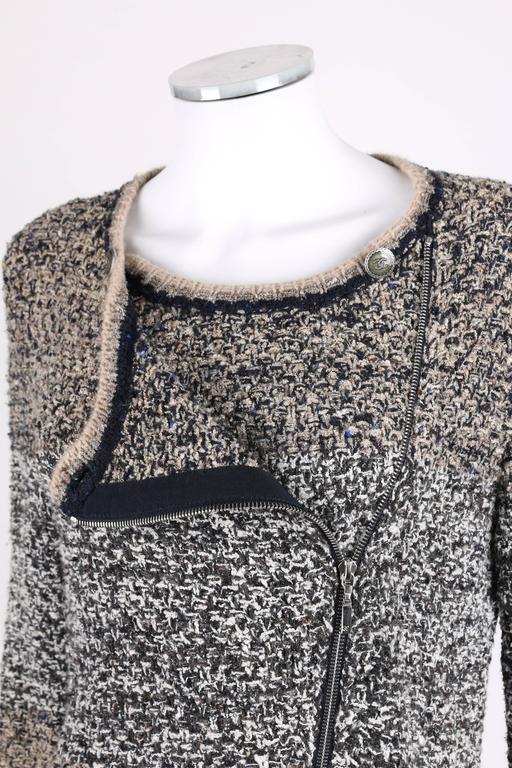 CHANEL A/W 2011 A-Symmetrical Front Side Zip Knitwear Cardigan Jacket 42 For Sale 1