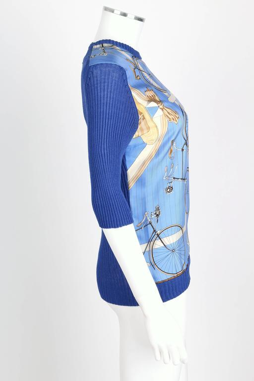 Hermes C 1980 S Blue Quot Les Becanes Quot Bicycle Print Silk