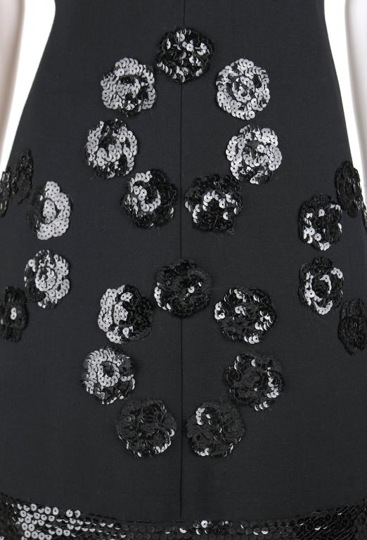 JEAN PATOU c.1960's KARL LAGERFELD Black Sequin Camellia Flower Cocktail Dress For Sale 1