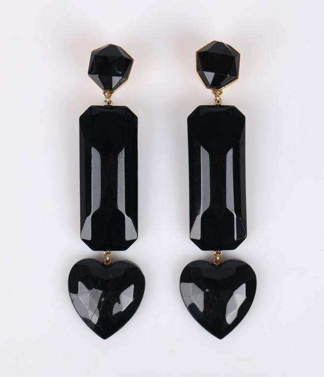 Yves Saint Lau Rive Gauche Statement Black Heart Gem Drop Clip Earrings Ysl In Excellent Condition