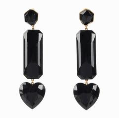 YVES SAINT LAURENT Rive Gauche Statement Black Heart Gem Drop Clip Earrings YSL