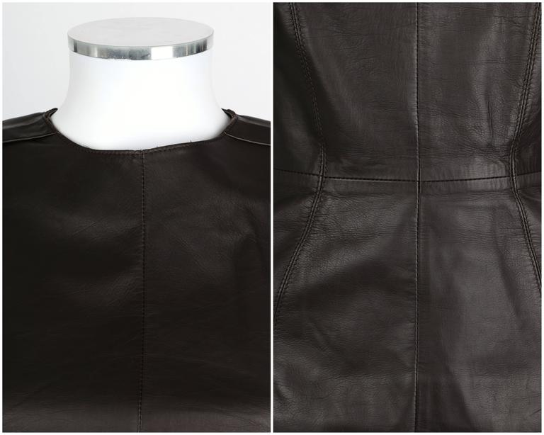 LANVIN F/W 2010 Runway Collection Dark Brown Calf Leather Shirt Structured Top 6