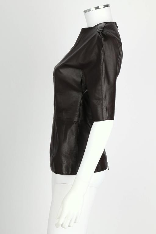 LANVIN F/W 2010 Runway Collection Dark Brown Calf Leather Shirt Structured Top 5