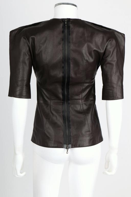 LANVIN F/W 2010 Runway Collection Dark Brown Calf Leather Shirt Structured Top 4
