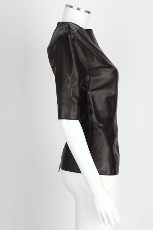 LANVIN F/W 2010 Runway Collection Dark Brown Calf Leather Shirt Structured Top 3