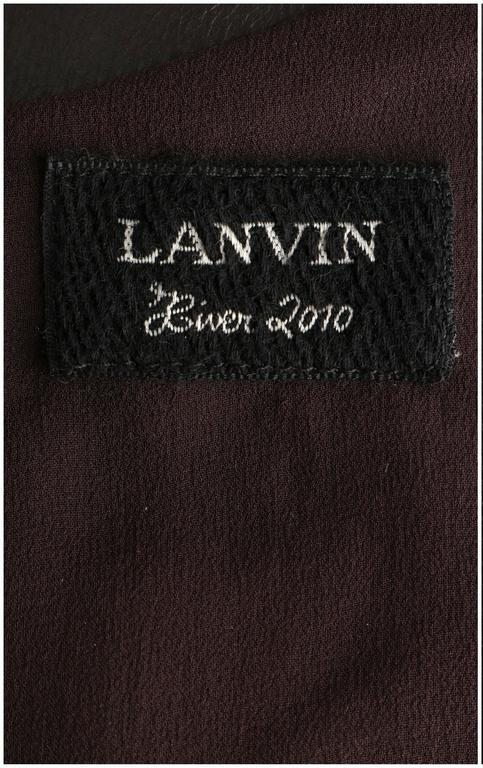 LANVIN F/W 2010 Runway Collection Dark Brown Calf Leather Shirt Structured Top 9