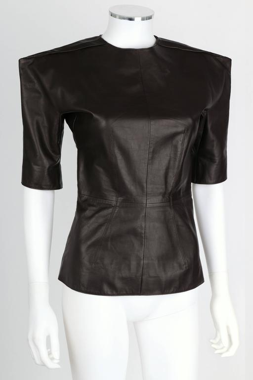 LANVIN F/W 2010 Runway Collection Dark Brown Calf Leather Shirt Structured Top 2