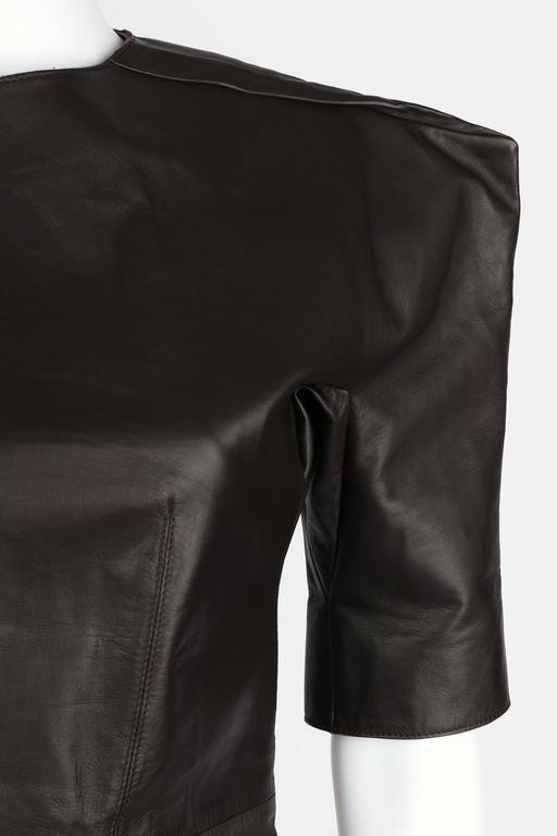LANVIN F/W 2010 Runway Collection Dark Brown Calf Leather Shirt Structured Top 7