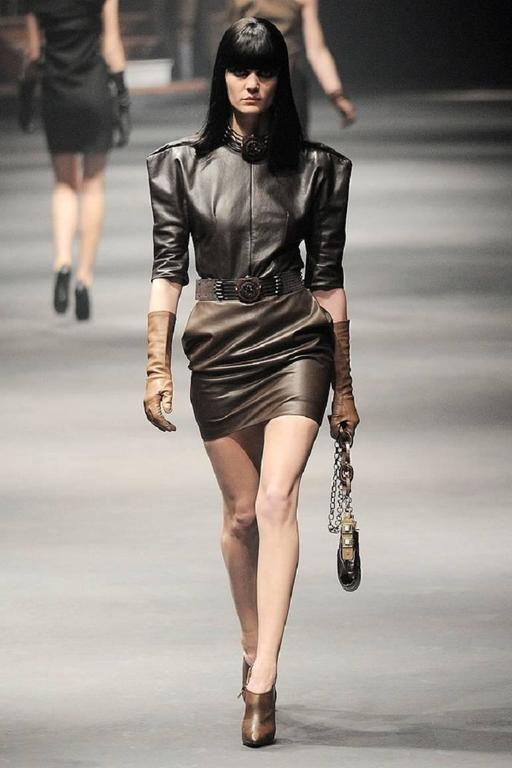 LANVIN F/W 2010 Runway Collection Dark Brown Calf Leather Shirt Structured Top 10