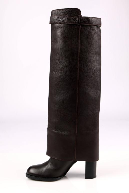 78cd679de57 Chanel dark brown leather knee high boots. Fold-over panel with adjustable  strap.