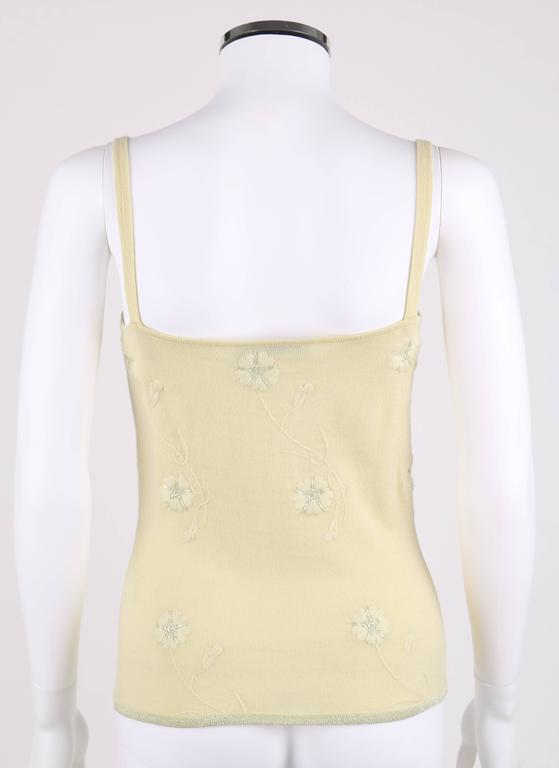 GIVENCHY Couture S/S 1998 ALEXANDER MCQUEEN Pale Yellow Floral Cardigan Top Set For Sale 3