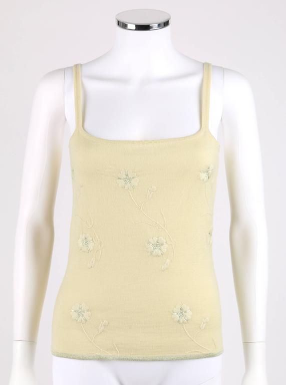 GIVENCHY Couture S/S 1998 ALEXANDER MCQUEEN Pale Yellow Floral Cardigan Top Set For Sale 1