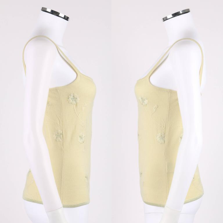 GIVENCHY Couture S/S 1998 ALEXANDER MCQUEEN Pale Yellow Floral Cardigan Top Set For Sale 2