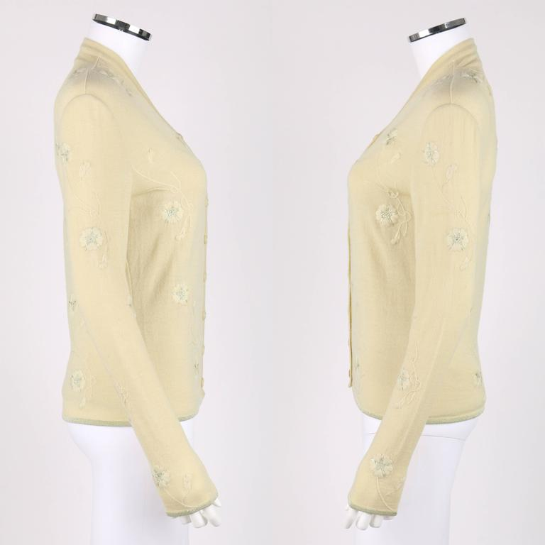 GIVENCHY Couture S/S 1998 ALEXANDER MCQUEEN Pale Yellow Floral Cardigan Top Set 3
