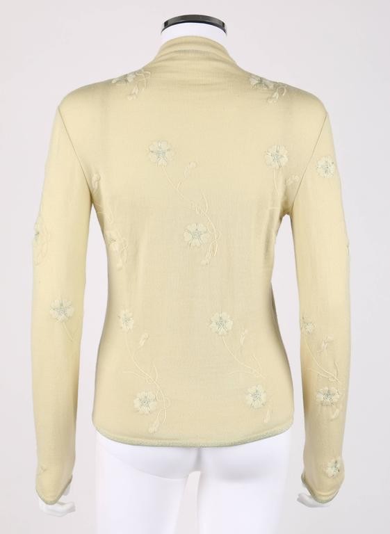 Women's GIVENCHY Couture S/S 1998 ALEXANDER MCQUEEN Pale Yellow Floral Cardigan Top Set For Sale