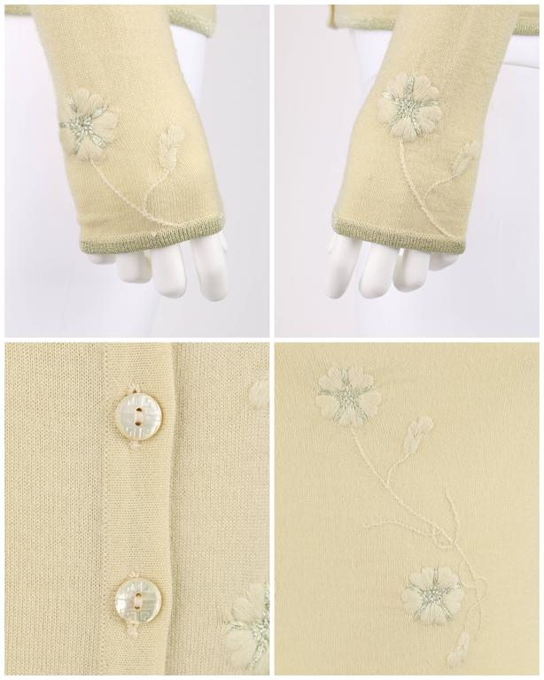 GIVENCHY Couture S/S 1998 ALEXANDER MCQUEEN Pale Yellow Floral Cardigan Top Set For Sale 4