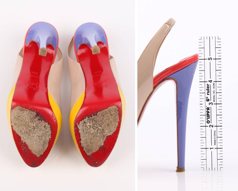 347dfbb4b42 CHRISTIAN LOUBOUTIN Bianca Multi Color Slingback Platform Pumps High Heels  Shoes For Sale 4