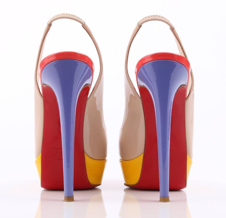 b401307063f CHRISTIAN LOUBOUTIN Bianca Multi Color Slingback Platform Pumps High Heels  Shoes For Sale 2