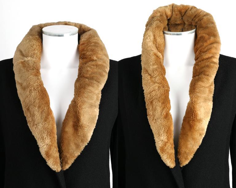 MILLER c.1910s Edwardian Black Wool Sheared Beaver Fur Art Deco Embroidered Coat For Sale 2