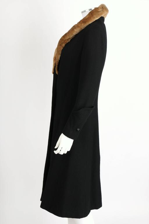 MILLER c.1910s Edwardian Black Wool Sheared Beaver Fur Art Deco Embroidered Coat For Sale 1