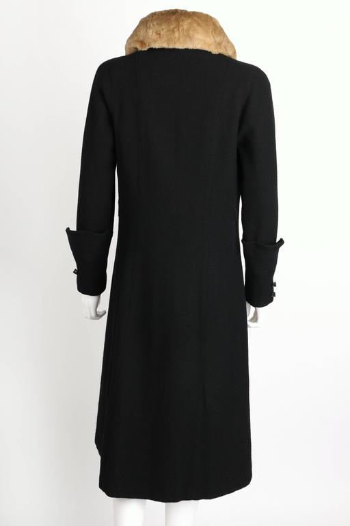 Women's MILLER c.1910s Edwardian Black Wool Sheared Beaver Fur Art Deco Embroidered Coat For Sale