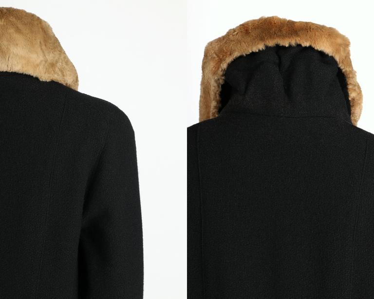 MILLER c.1910s Edwardian Black Wool Sheared Beaver Fur Art Deco Embroidered Coat For Sale 4