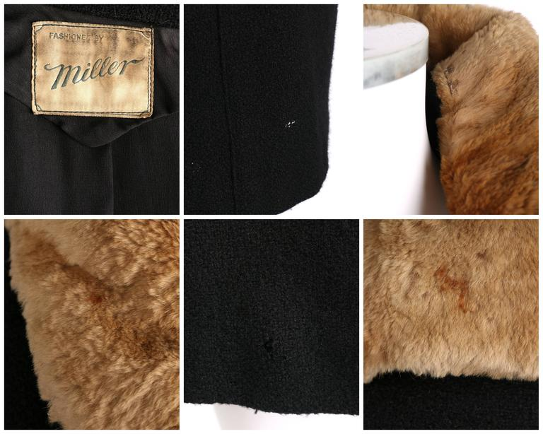 MILLER c.1910s Edwardian Black Wool Sheared Beaver Fur Art Deco Embroidered Coat For Sale 6