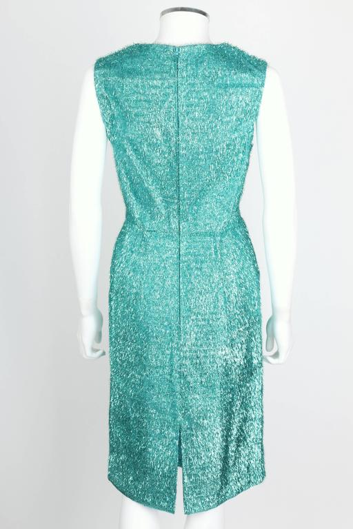 Women's COUTURE c.1960's Turquoise Blue Metallic Tinsel Cocktail Party Shift Dress For Sale
