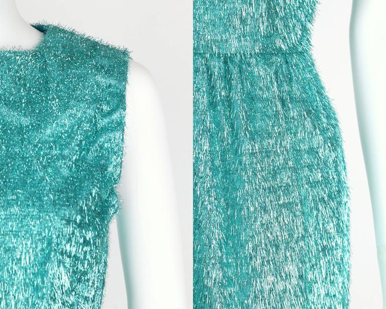 COUTURE c.1960's Turquoise Blue Metallic Tinsel Cocktail Party Shift Dress For Sale 4