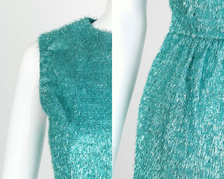 COUTURE c.1960's Turquoise Blue Metallic Tinsel Cocktail Party Shift Dress For Sale 3
