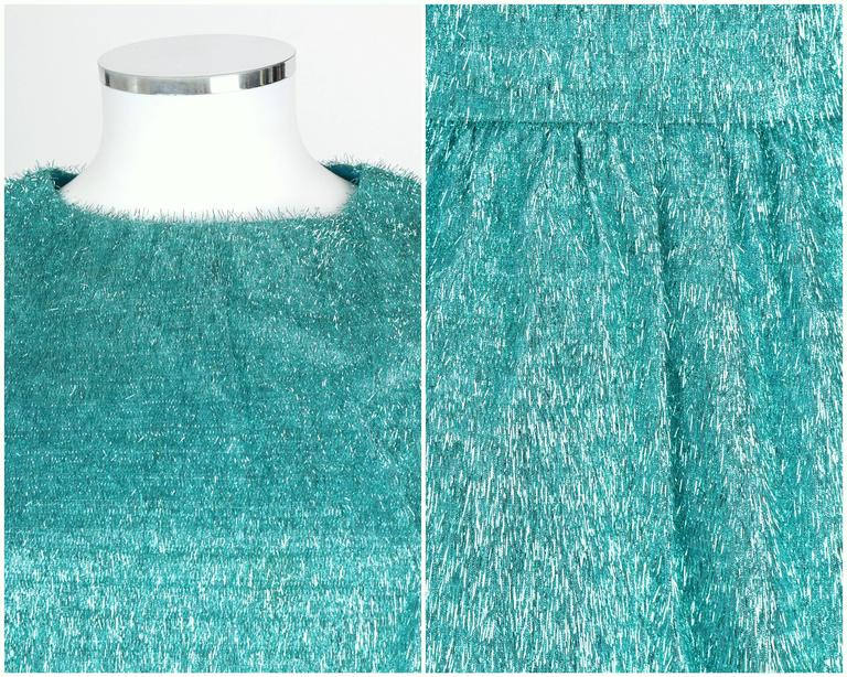 COUTURE c.1960's Turquoise Blue Metallic Tinsel Cocktail Party Shift Dress For Sale 2