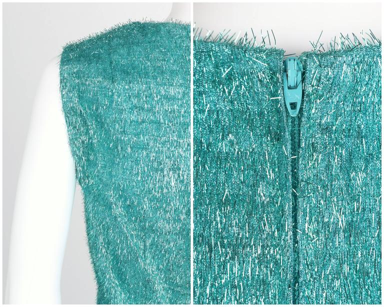 COUTURE c.1960's Turquoise Blue Metallic Tinsel Cocktail Party Shift Dress For Sale 5