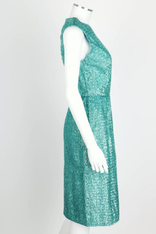 COUTURE c.1960's Turquoise Blue Metallic Tinsel Cocktail Party Shift Dress In Excellent Condition For Sale In Thiensville, WI