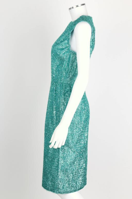 COUTURE c.1960's Turquoise Blue Metallic Tinsel Cocktail Party Shift Dress For Sale 1