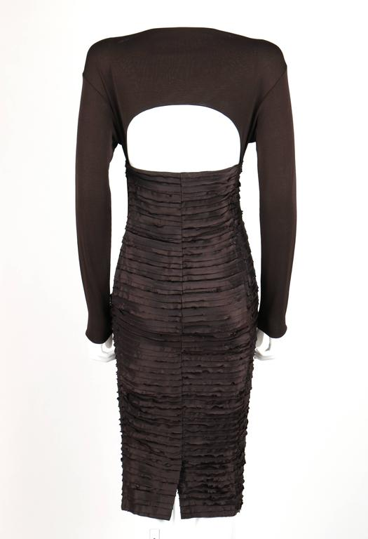 Black VERSACE A/W 2005 Brown Empire Waist Raw Edge Layered Open Back Cocktail Dress For Sale