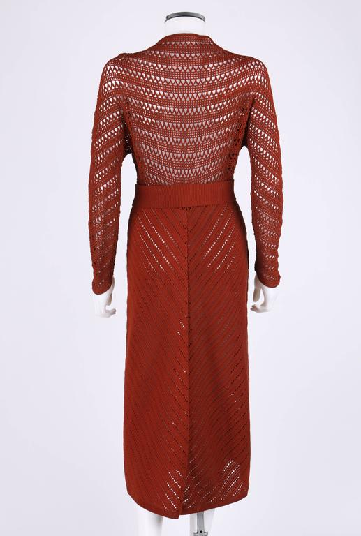COUTURE c.1940's Burnt Orange Chevron Crochet Sailor Day Dress + Nautical Belt In Excellent Condition For Sale In Thiensville, WI