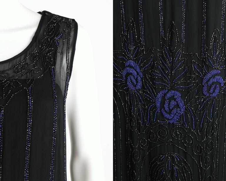COUTURE c.1920's Black Silk Chiffon Art Deco Beaded Flapper Cocktail Slip Dress 8