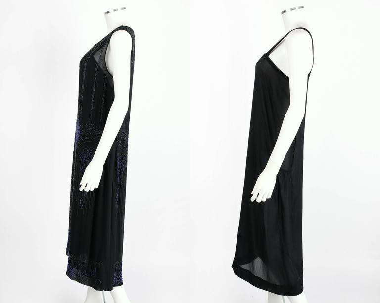 COUTURE c.1920's Black Silk Chiffon Art Deco Beaded Flapper Cocktail Slip Dress 6