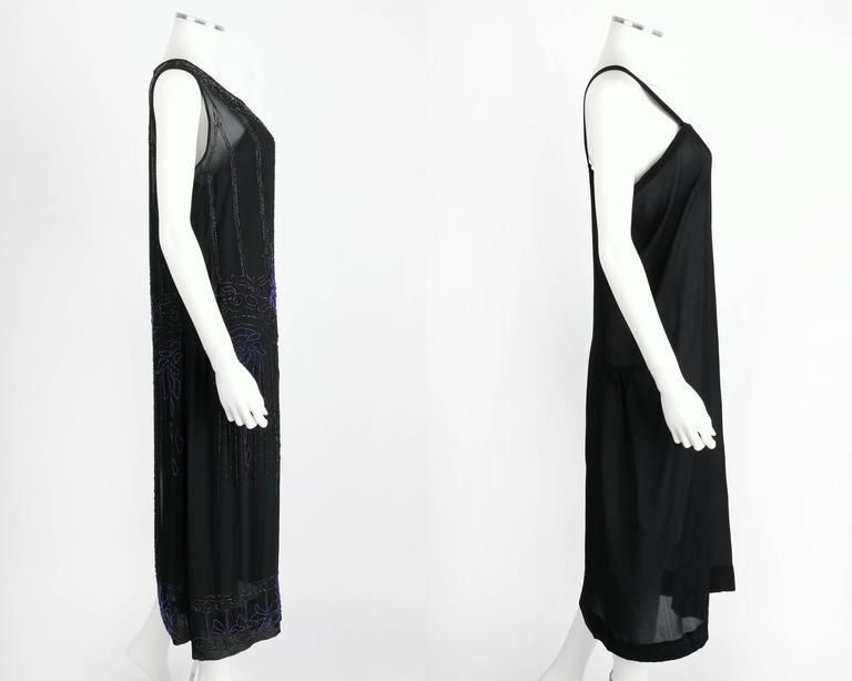 COUTURE c.1920's Black Silk Chiffon Art Deco Beaded Flapper Cocktail Slip Dress 4
