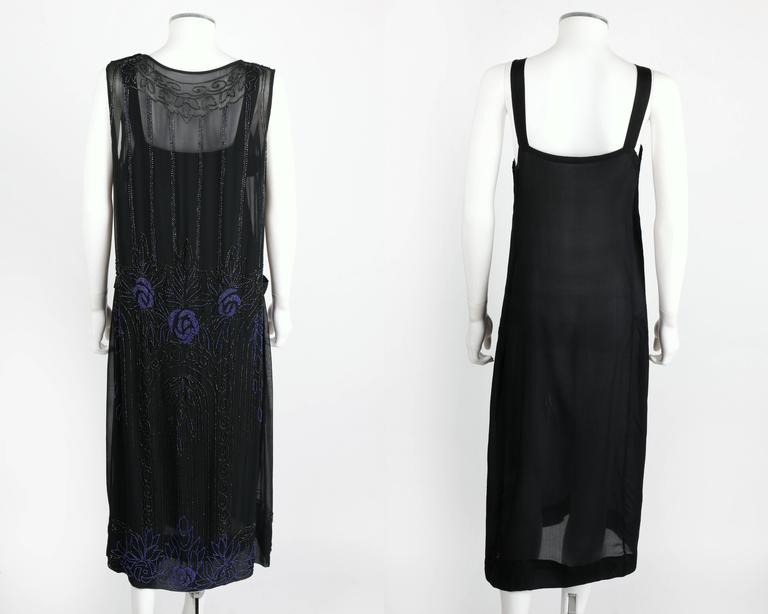 COUTURE c.1920's Black Silk Chiffon Art Deco Beaded Flapper Cocktail Slip Dress 5