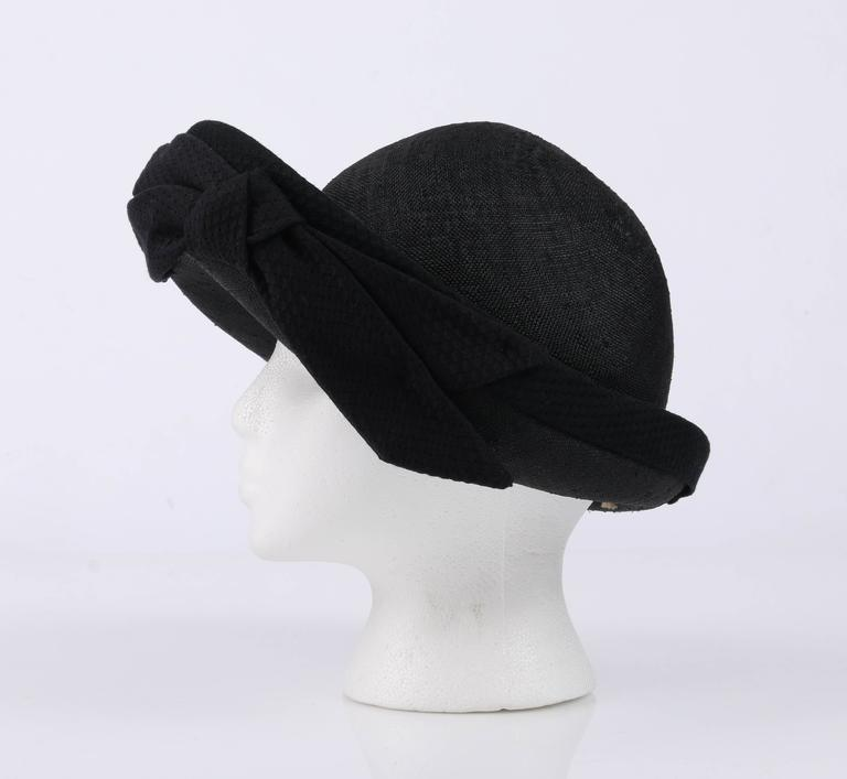OSCAR DE LA RENTA Millinery Black Woven Straw Cotton Bow Vegabond Hat For  Sale 3 99271ef9b94