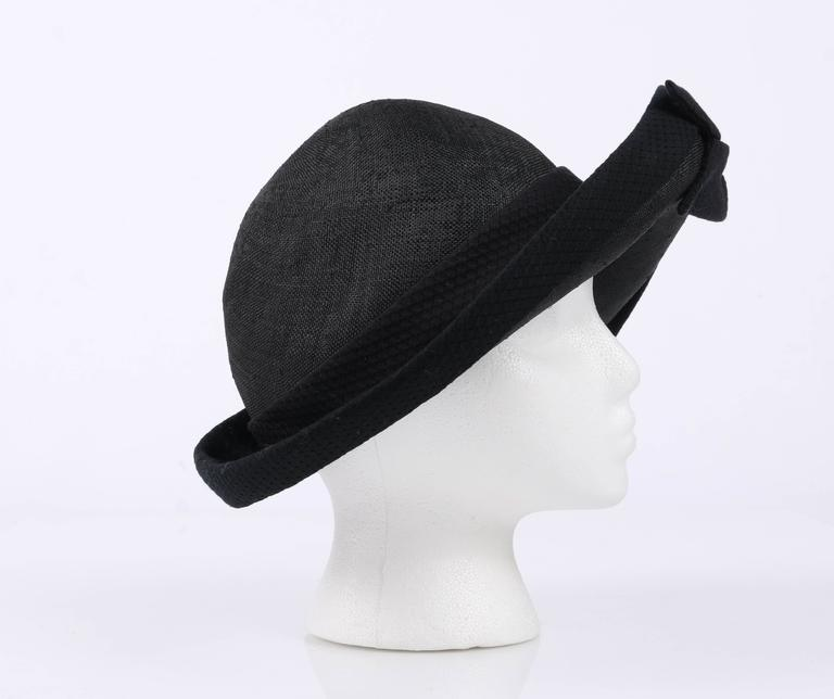 Women s OSCAR DE LA RENTA Millinery Black Woven Straw Cotton Bow Vegabond  Hat For Sale c5c28863836
