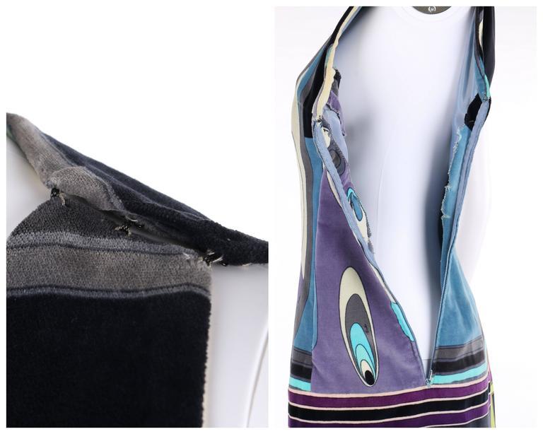 EMILIO PUCCI c.1960's Multicolor Op Art Bubble Signature Print Velvet Maxi Dress For Sale 1
