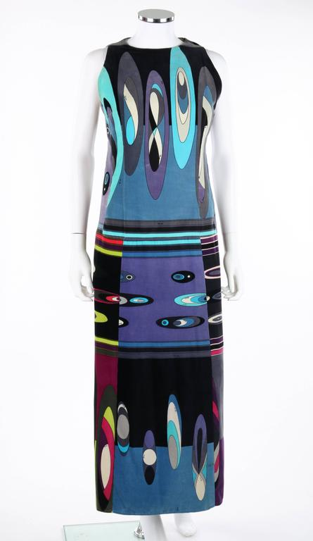 Vintage Emilio Pucci c.1960's velvet maxi dress. Multicolor signature op art bubble and windowpane print in shades of blue, pink, purple, green, black, and white. Sleeveless. Scoop neckline. Side seam zipper with hook and eye closure at top. Fully