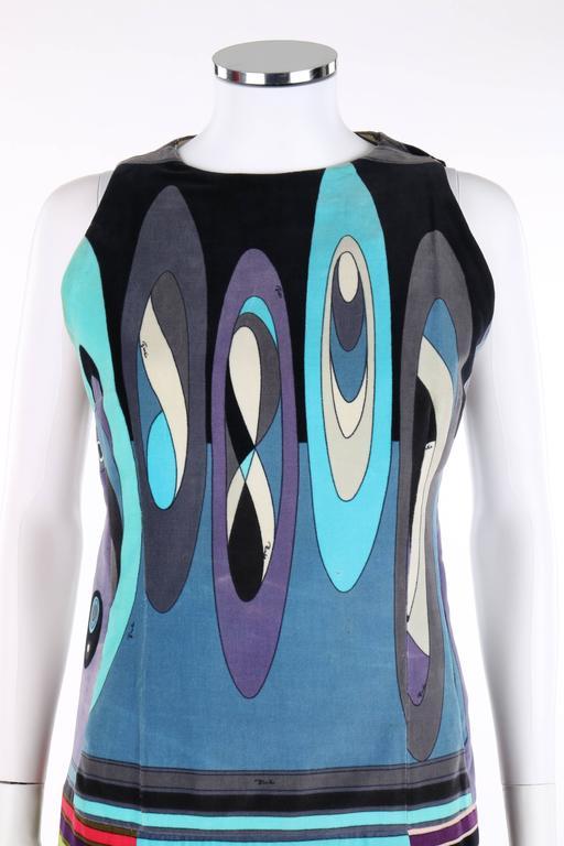 Women's EMILIO PUCCI c.1960's Multicolor Op Art Bubble Signature Print Velvet Maxi Dress For Sale