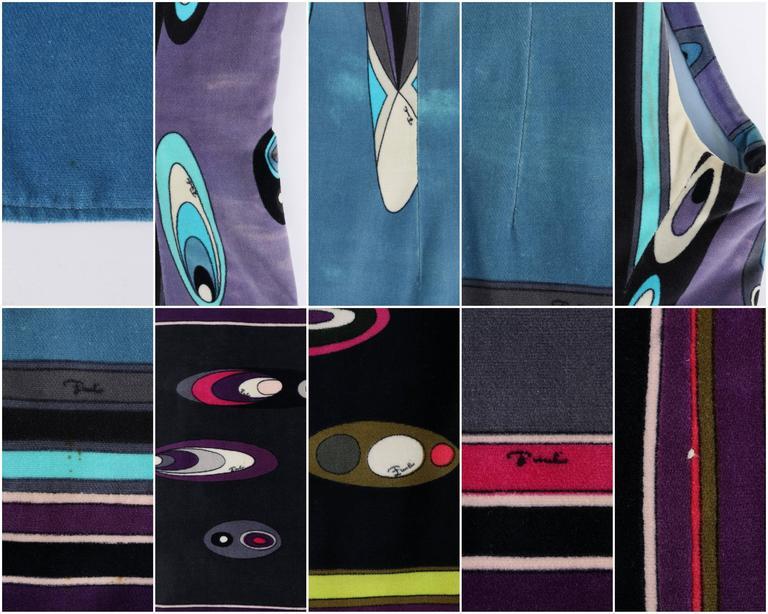EMILIO PUCCI c.1960's Multicolor Op Art Bubble Signature Print Velvet Maxi Dress For Sale 3